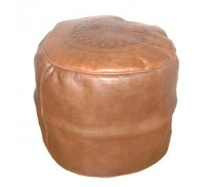 Tabouret Marocain cuir tanné marron