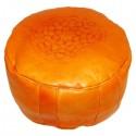 Pouf Marocain cuir tanné orange