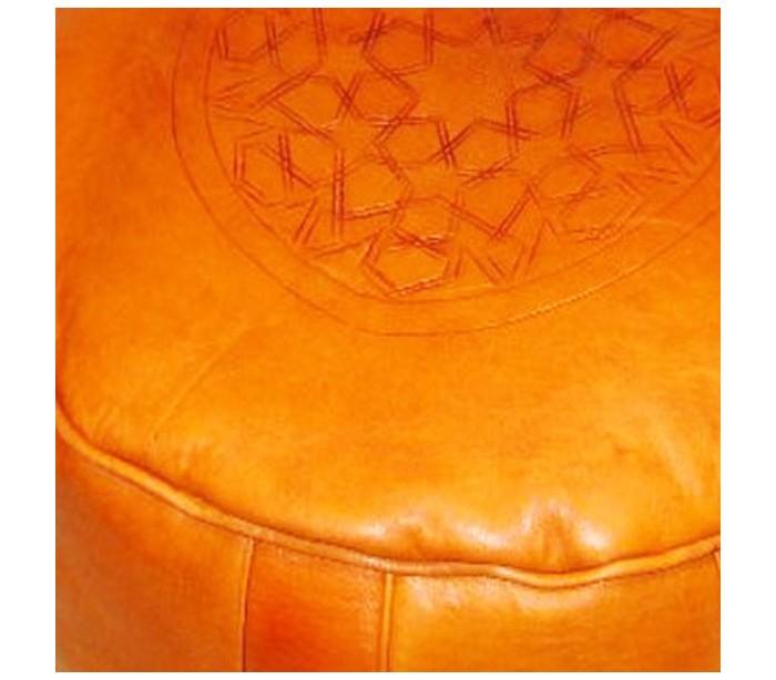 pouf marocain cuir tann orange au palais des nomades. Black Bedroom Furniture Sets. Home Design Ideas