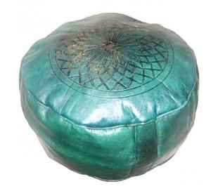 Pouf Marocain cuir tanné vert