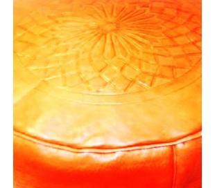 Pouf Marocain cuir tanné rouge