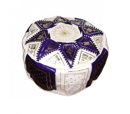 Pouf Marocain cuir traditionnel beige et violet