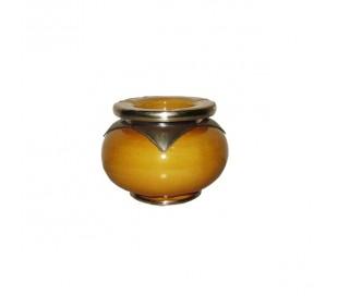 Cendrier Marocain Marrakchi jaune safran petit modèle