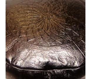 Pouf Marocain cuir tanné noir
