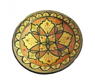 Plat marocain décoratif jaune et noir grand modèle