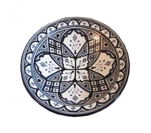 Plat marocain décoratif bleu et blanc grand modèle