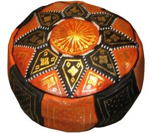 Pouf Marocain cuir traditionnel noir et orange