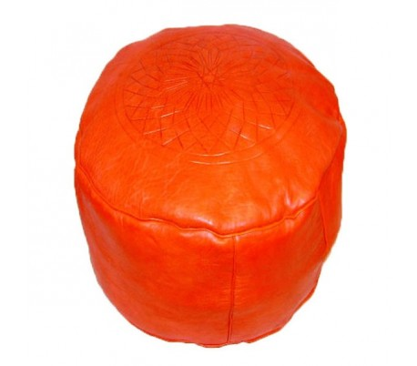 Tabouret Marocain cuir tanné orange