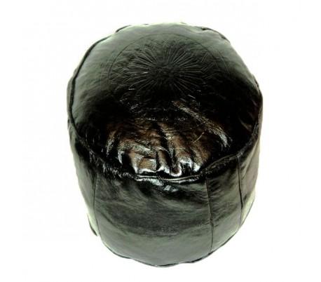 Tabouret Marocain cuir tanné noir