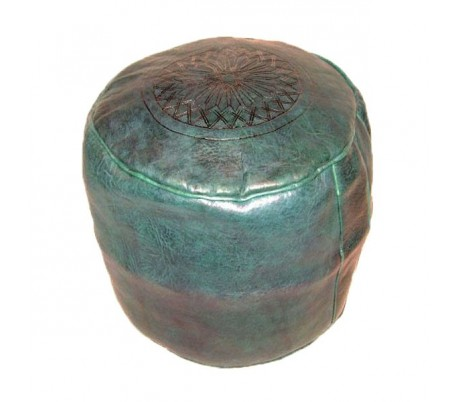 Tabouret Marocain cuir tanné vert