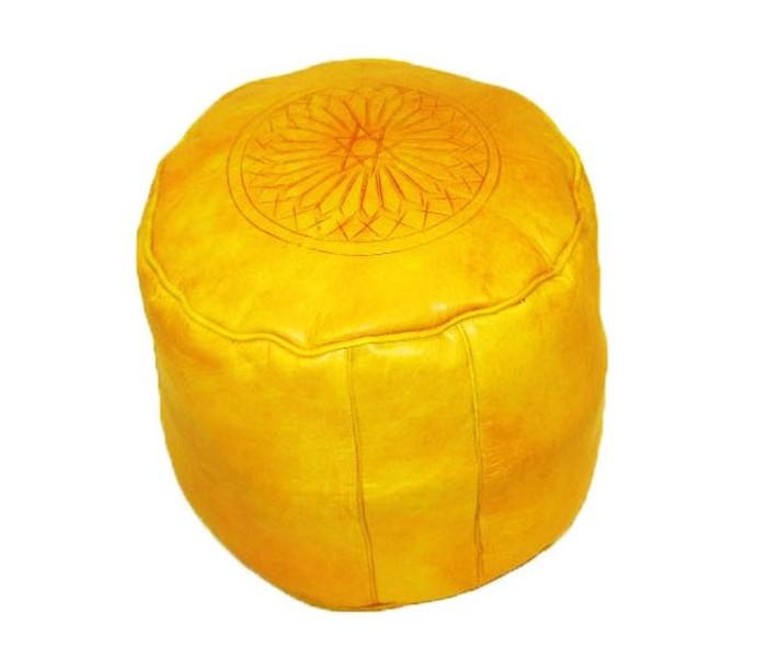 tabouret marocain cuir tann jaune safran au palais des. Black Bedroom Furniture Sets. Home Design Ideas