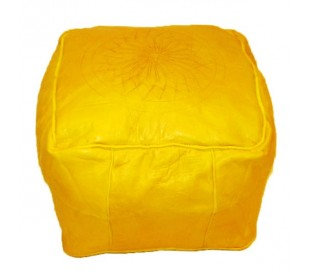 Tabouret Marocain cuir tanné jaune