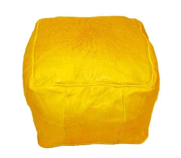 tabouret marocain cuir tann jaune au palais des nomades. Black Bedroom Furniture Sets. Home Design Ideas