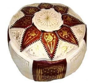 Pouf Marocain cuir traditionnel beige et marron