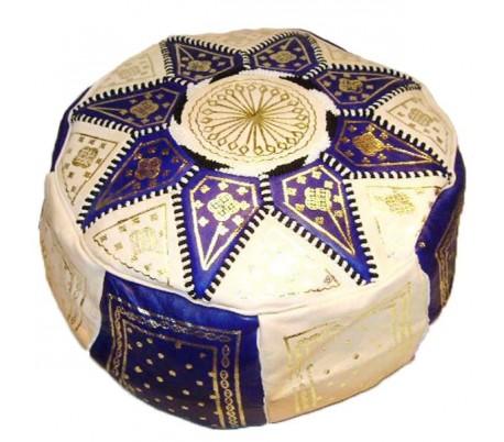 Pouf Marocain cuir traditionnel beige et bleu