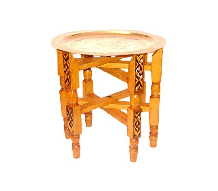 Plateau marocain argent tr pied en bois au palais des for Table a the marocaine