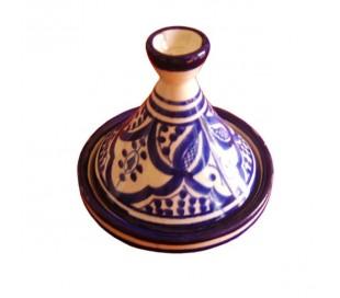Tajine Marocain décoratif blanc et bleu