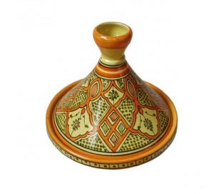 Tajine Marocain décoratif orange et jaune