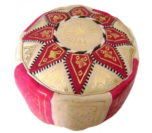 Pouf Marocain cuir traditionnel beige et fuchsia