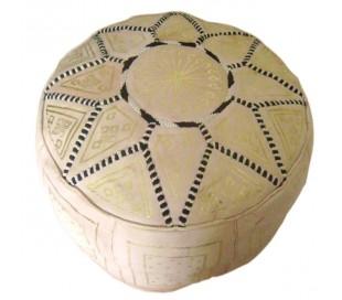 Pouf Marocain cuir traditionnel beige