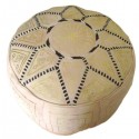 Pouf Marocain cuir traditionnel beige naturel