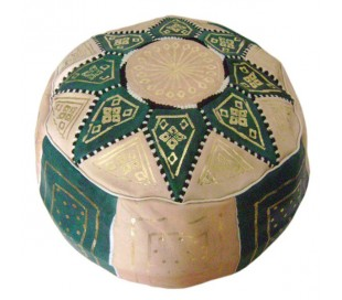 Pouf Marocain cuir traditionnel beige et vert