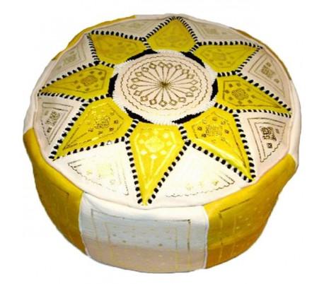 Pouf Marocain cuir traditionnel beige et jaune