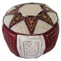 Pouf Marocain cuir traditionnel beige et bordeaux