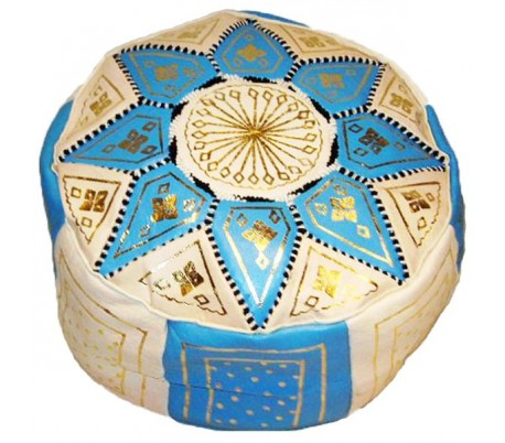 Pouf Marocain cuir traditionnel beige et turquoise
