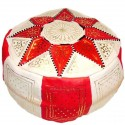 Pouf Marocain cuir traditionnel beige et rouge