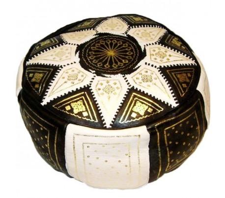 Pouf Marocain cuir traditionnel noir et beige