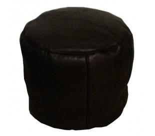 Tabouret Marocain cuir tanné marron foncé